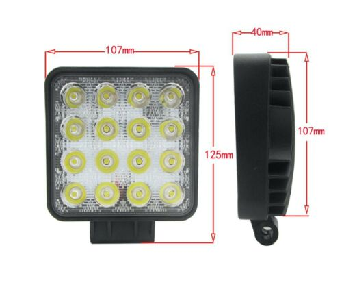 "WNB 2x Square 4/"" 10cm Led Work light for Car Van Truck Tractor in 12 or 24 Volt"