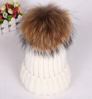 Brand New Fashion Women Warm Real Fur Ball Knitting Hats Beret Ski Cap Hat White