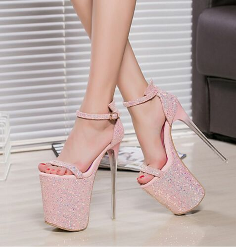 Ladies Sequins Peep Toe Roma Strap Shoes Super High Heel Platform Party Stiletto
