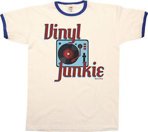 Image Is Loading Vinyl Junkie Mens Ringer T Shirt Retro Record