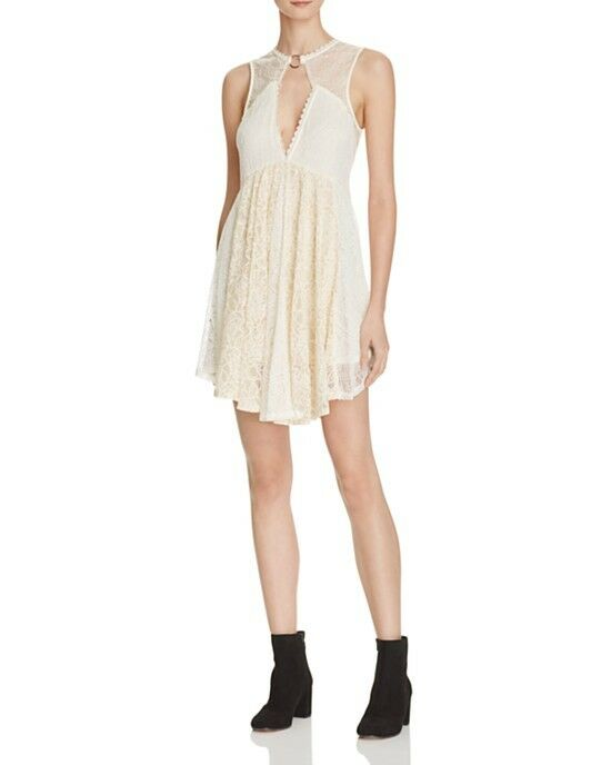 NWT FREE PEOPLE Don't You Dare Lace Dress in Neutral Combo  - S,M
