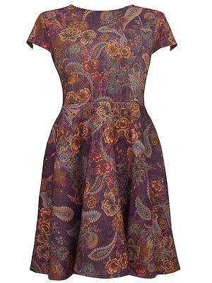 Ruby's Closet Wine Cap Sleeve Winter Floral Skater Dress - Plus Size 14 to 22