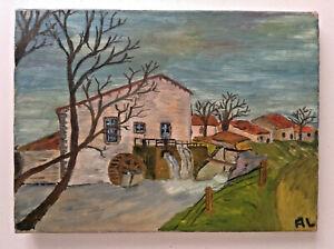 Ancien-tableau-Art-Naif-Paysage-au-Moulin-a-eau-Huile-sur-toile-signee