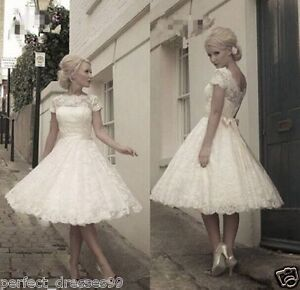 New-White-Ivory-Lace-Tea-Length-Short-Vintage-Wedding-Dress-Size-6-8-12-14-16-18