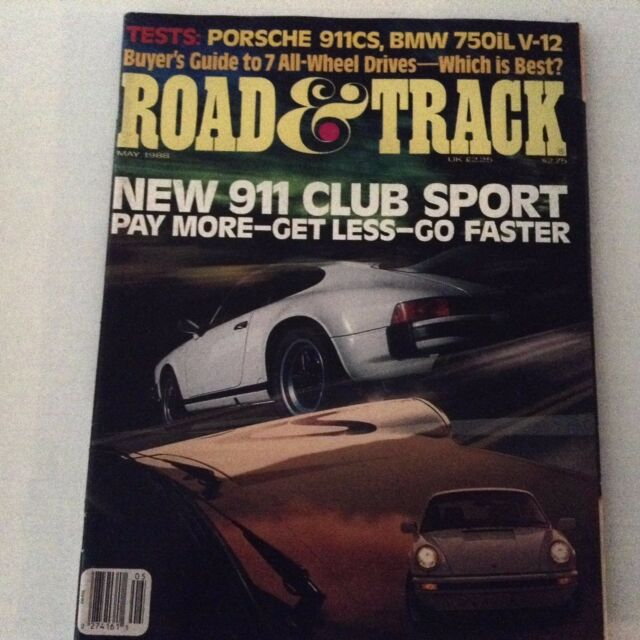Road & Track  Magazine Porsche  911cs BMW 750iL V-12 May 1988 062917nonrh
