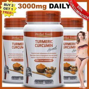 TURMERIC-95-CURCUMIN-LONGA-LINN-100-PURE-TUMERIC-PILLS-ANTIOXIDANT-Capsules