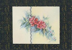 VINTAGE-PINK-ROSES-BLUE-GREEN-LEAVES-LITHO-ART-PRINT-ON-ANTIQUE-ACEO-SIZE-PAPER