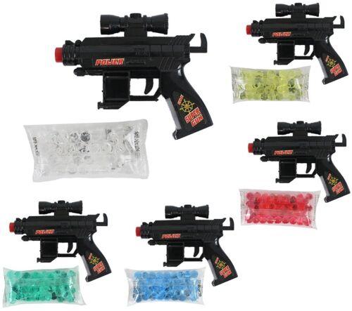 Pistole schwarz mit Gelkugeln Farbe Rot im Beutel