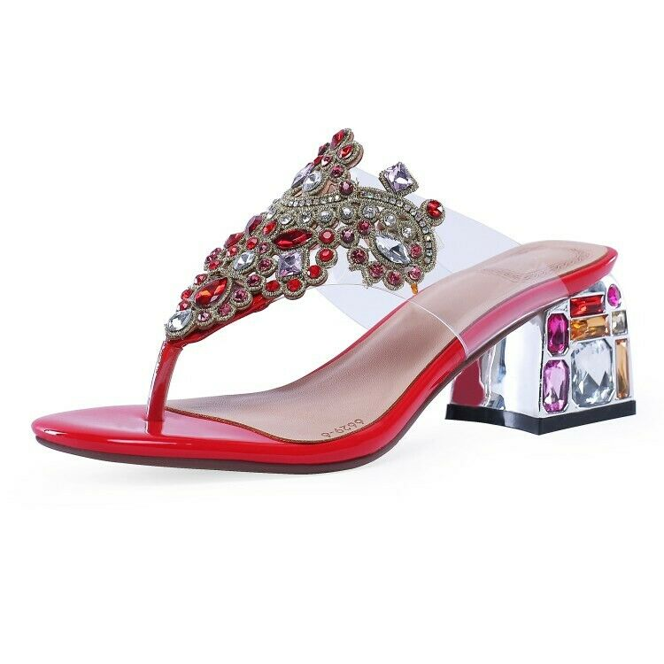 Glitter donna Clip Toe Rhinestone Block High Heel Slippers Summer Leather scarpe