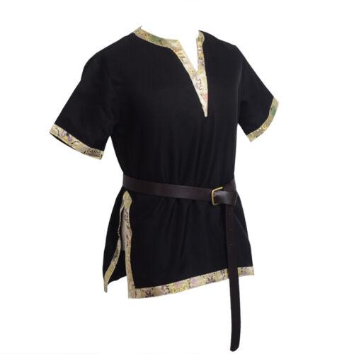 Medieval Men LARP Shirt with Belt Braided Viking Norseman Saxon Cosplay Costume