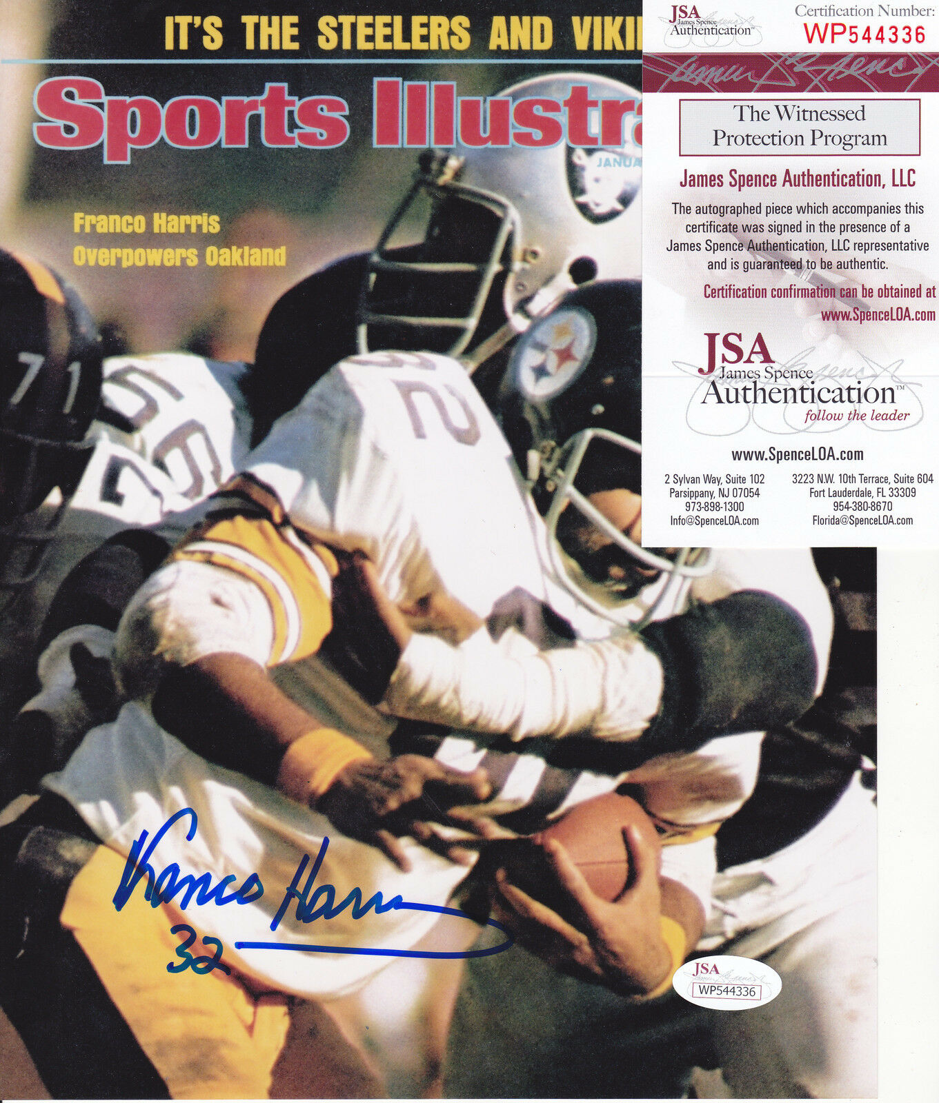 Franco Harris Pittsburgh Steelers JSA Authen Sports Illustrated Firmada