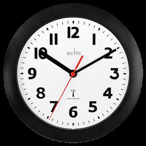 Acctim-74313-Parona-Radio-Controlled-Black-Wall-Clock-23cm-Diameter