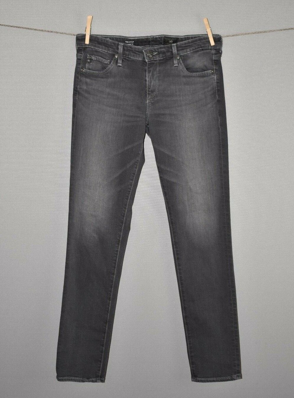 AG ADRIANO goldSCHMIED  Grey Distressed Stilt Cigarette Leg Jeans Size 27