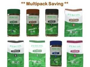 Percol Fair trade Vegan Organic Roast & Ground Instant Coffee Multipack of 6