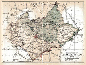 An Enlarged Map Of The Co Of Leicester Rutland England Original