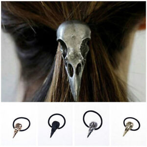 Halloween-Silver-Bird-Skull-Hair-Tie-Plague-Doctor-Crow-Raven-Cool-Elastic-BBDA