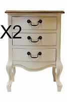 2 X Shabby Chic Bedside Table Cabinet Chest Of Drawers,3 Drawer Chest