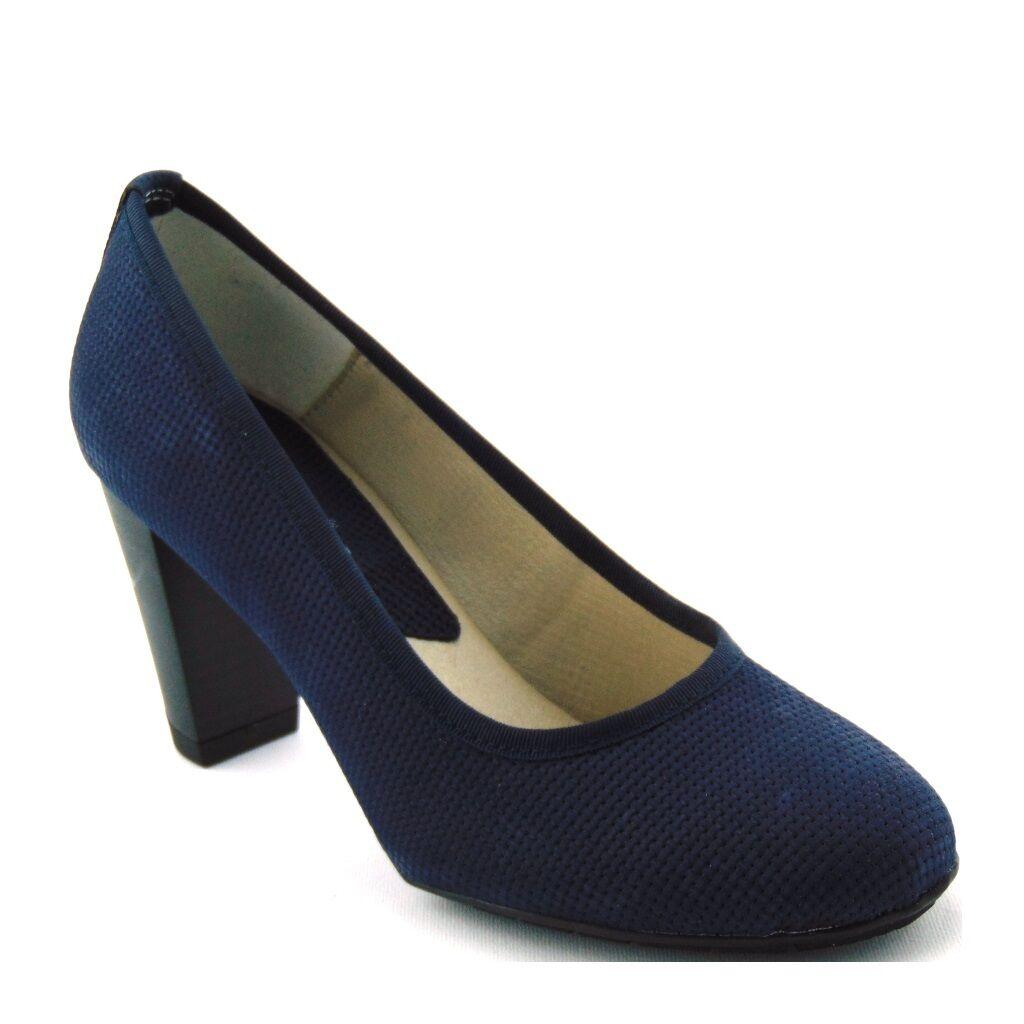 chaussures femmes TACCO DECOLLETE  CALLAGHAN 98302 COMODE PELLE bleu GOMMA ADAPTACTION