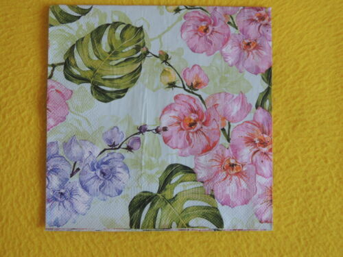 5 Servietten wilde Orchideen prächtig  Serviettentechnik Motivservietten Blätter