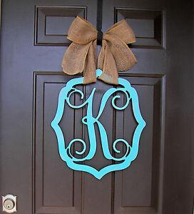 Wooden Monogram Door Hanger Wreath Initial Vintage Frame