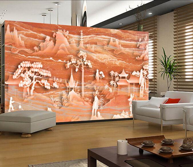3D Rotes Steinschnitzen 743 Tapete Wandgemälde Tapete Tapeten Bild Familie DE    Bunt,    München    Hohe Sicherheit