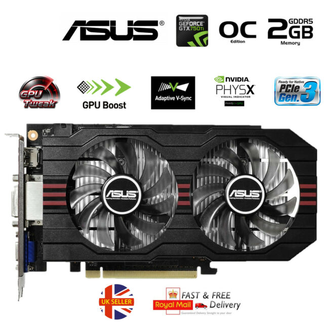 ASUS nVidia GeForce GTX 750 Ti 2GB Overclocked Gaming Graphics Video Card