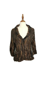 VERS-AUSTRALIA-CHOCOLATE-BROWN-CRUSHED-light-weight-JACKET-SIZE-12-TWO-WAY-ZIP