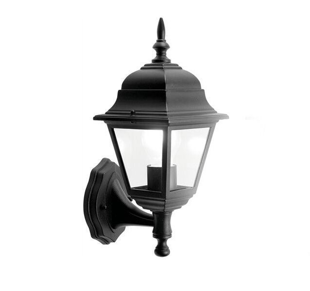 Aluminium 4Sided Black Wall Lantern Outdoors Garden Traditional Coach Lantern