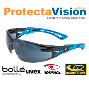 Bolle RUSH PLUS Safety Glasses Blue//Black Frame Smoke Lens Platinum Coating
