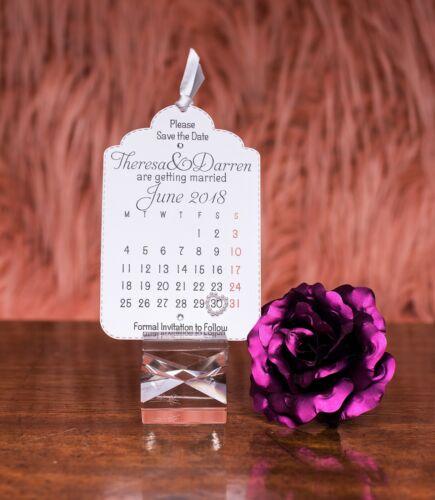Elegant Wedding Save the Date Calendar Tag with Envelope ribbon heart /& gems