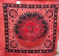 "Sofaüberwurf,Tagesdecke, "" SUN "", orange ,Afrika-Style, 210 x 240 cm * NEU*"