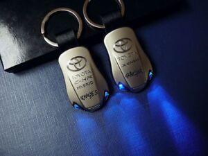 TOYOTA  RAV4 COROLLA PRIUS CAMRY C-HR YARIS AYGO LED Keychain Keyring ENGRAVED