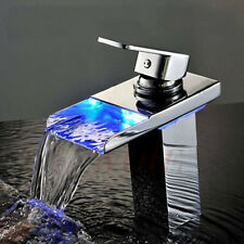 Chrome Brushed Led Mixer Sink Tap Color Changing Bathroom Basin Faucet Waterfall
