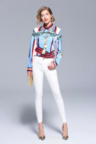 Spring Summer Fall Floral Print Collar Long Sleeve Women Casual Top Shirt Blouse