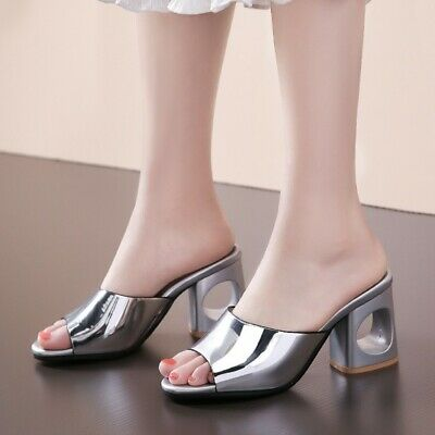 Women Summer Slingback Sandals Plus Size High Heel Block Slippers Peep Toe Shoes | eBay