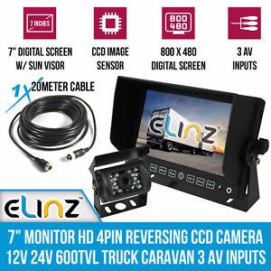 """7"""" Monitor HD 4PIN Reversing CCD Camera 12V 24V 600TVL Truck Caravan 3 AV inputs"""