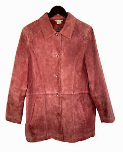 Travelsmith-Red-Burgundy-Genuine-Suede-Leather-Medium-Blazer-Jacket-Women-Coat