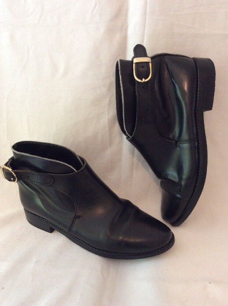 Ladies Black Ankle Leather Boots Size 4