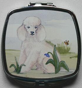 POODLE-WHITE-DOG-DESIGN-COMPACT-MIRROR-HANDBAG-PURSE-SANDRA-COEN-WATERCOLOUR-ART