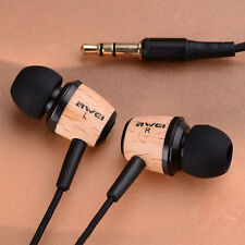 SUPER BASS Wooden IN EAR EARPHONE NOISE ISOLATION Cancelling HEADSET Headphones