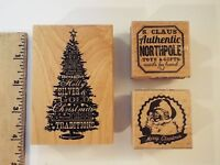 3 New-lot-inkadinkado Holiday Tree Wordplay & Studio Wood Stamps-christmas-san