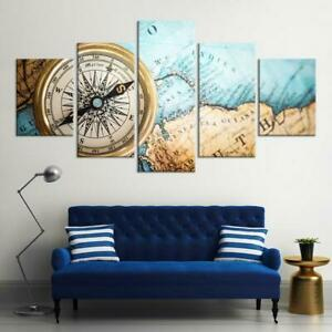 Life-By-Compass-Map-5-panel-canvas-Wall-Art-Home-Decor-Poster-Print