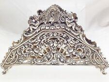 Antique Vintage 800 Sterling Silver Napkin Holder German Art Nouveaux Flower