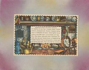 VINTAGE PRINT COLONIAL COOK HEARTH GRANDMOTHER MOLASSES COOKIES RECIPE COLLAGE