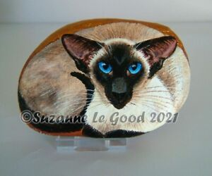 Siamese cat art pebble rock stone painting original hand painted Suzanne Le Good