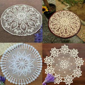 Vintage-Crochet-Tablecloth-Round-Cotton-Lace-Table-Cloth-Cover-Topper-Doily-60cm