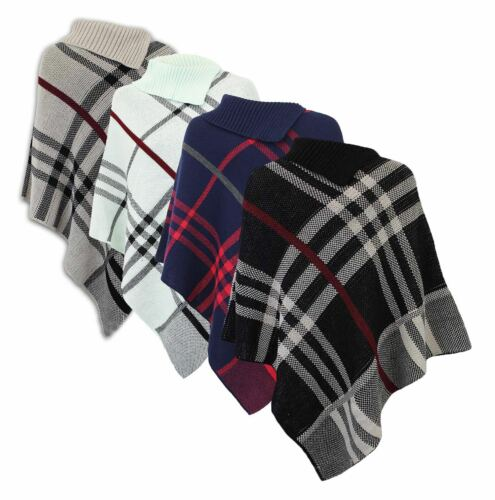 New Women Ladies Knitted Stone Black Check Warm Cape Poncho Sizes 8-14