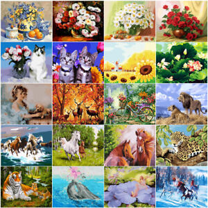 DIY-Painting-Canvas-Frame-Flowers-Deer-Horse-Dog-Cat-40-50cm-Paint-By-Number-kit