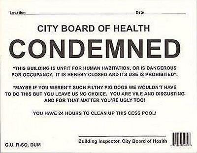 Prank Novelty Condemned Notice OV15327