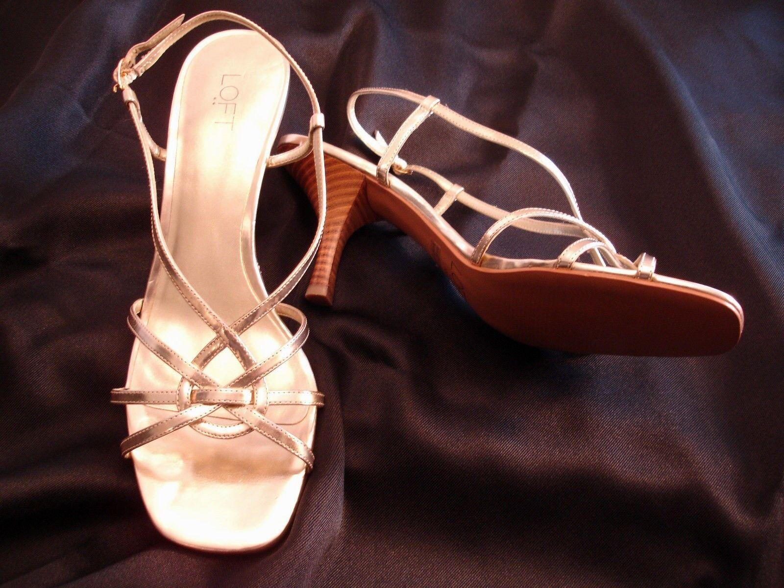 Loft 10 Gold Strappy Sandals Heels Ann Taylor Womens Size 10 Loft New 3